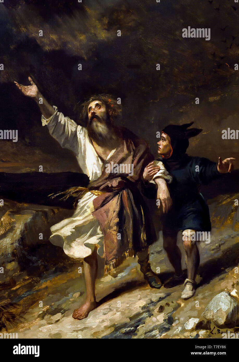 King Lear and his madman during the storm 1836 Boulanger Louis Candide ( 1806 - 1867), France, French, - Stock Image