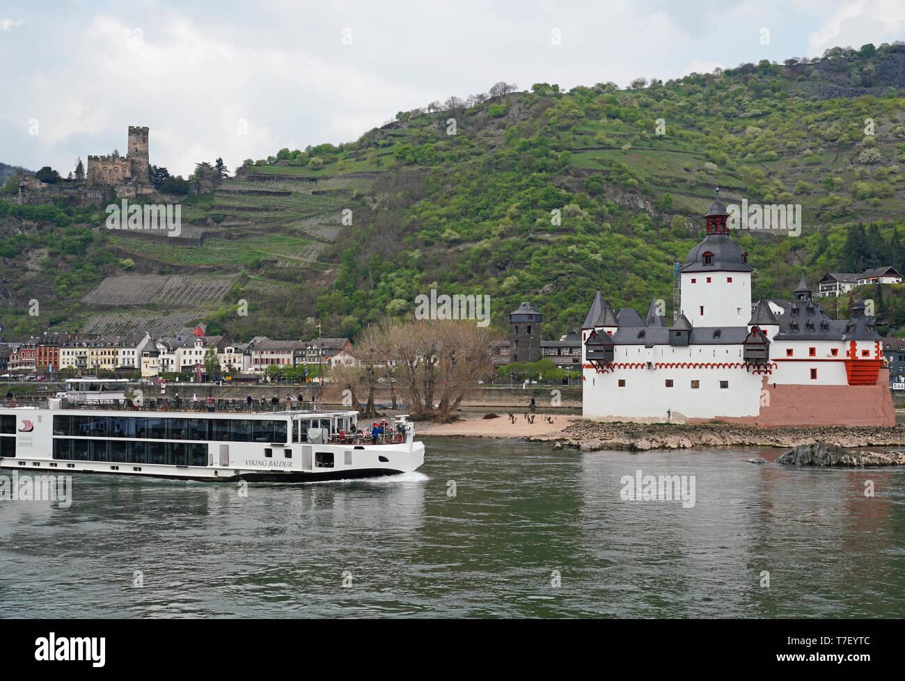 Viking River Cruises longship on Rhine River in Germany - Stock Image