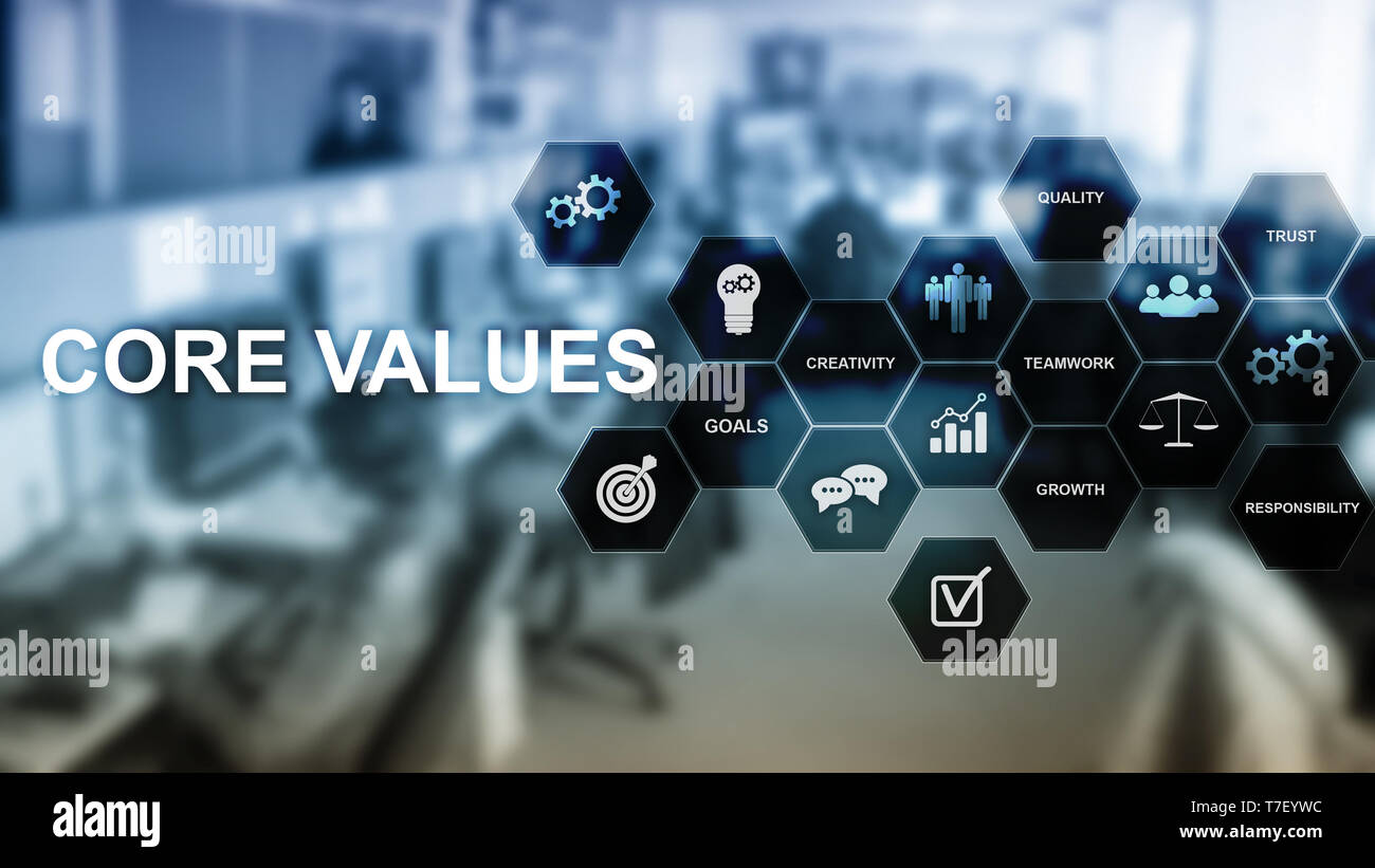 Core values concept on virtual screen. Business and finance solutions. - Stock Image