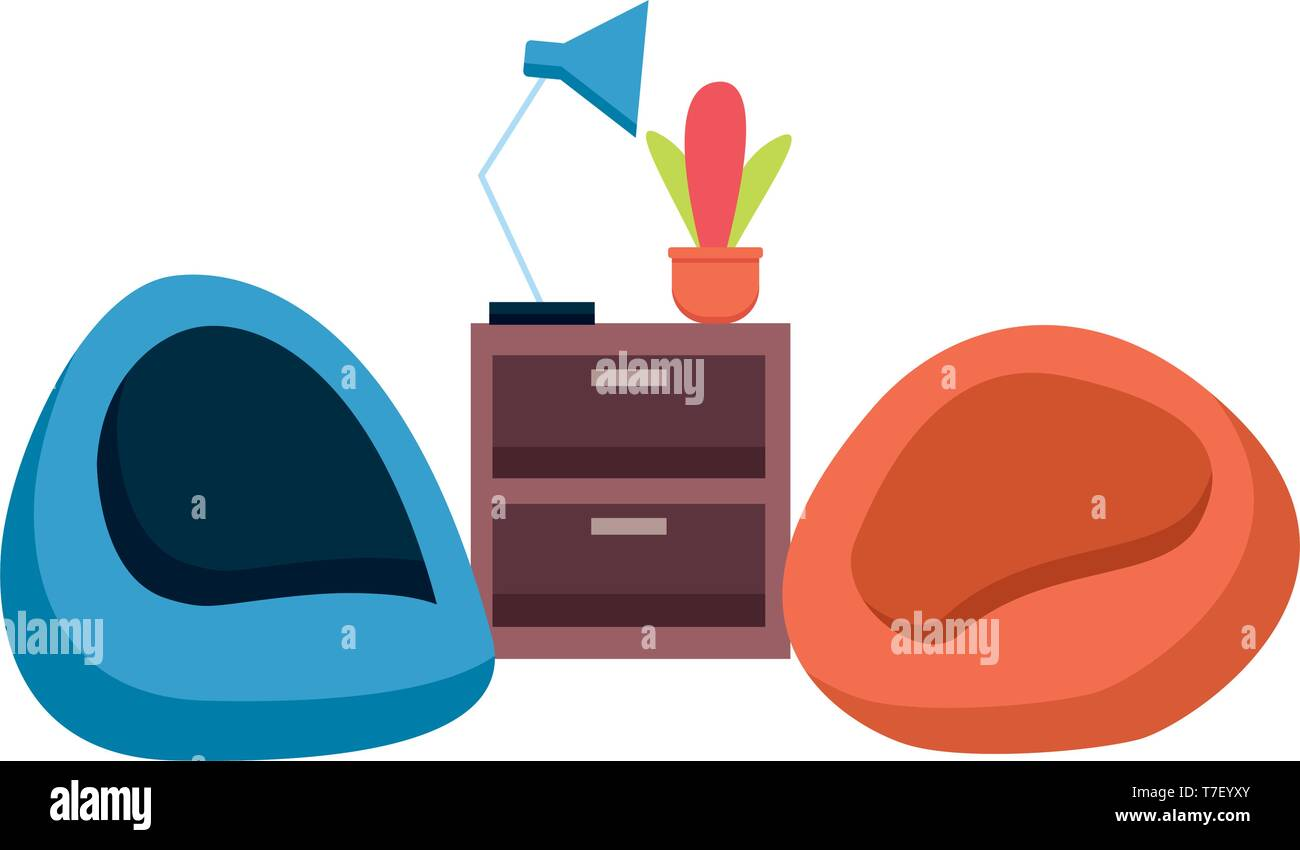 office bean chairs table - Stock Vector