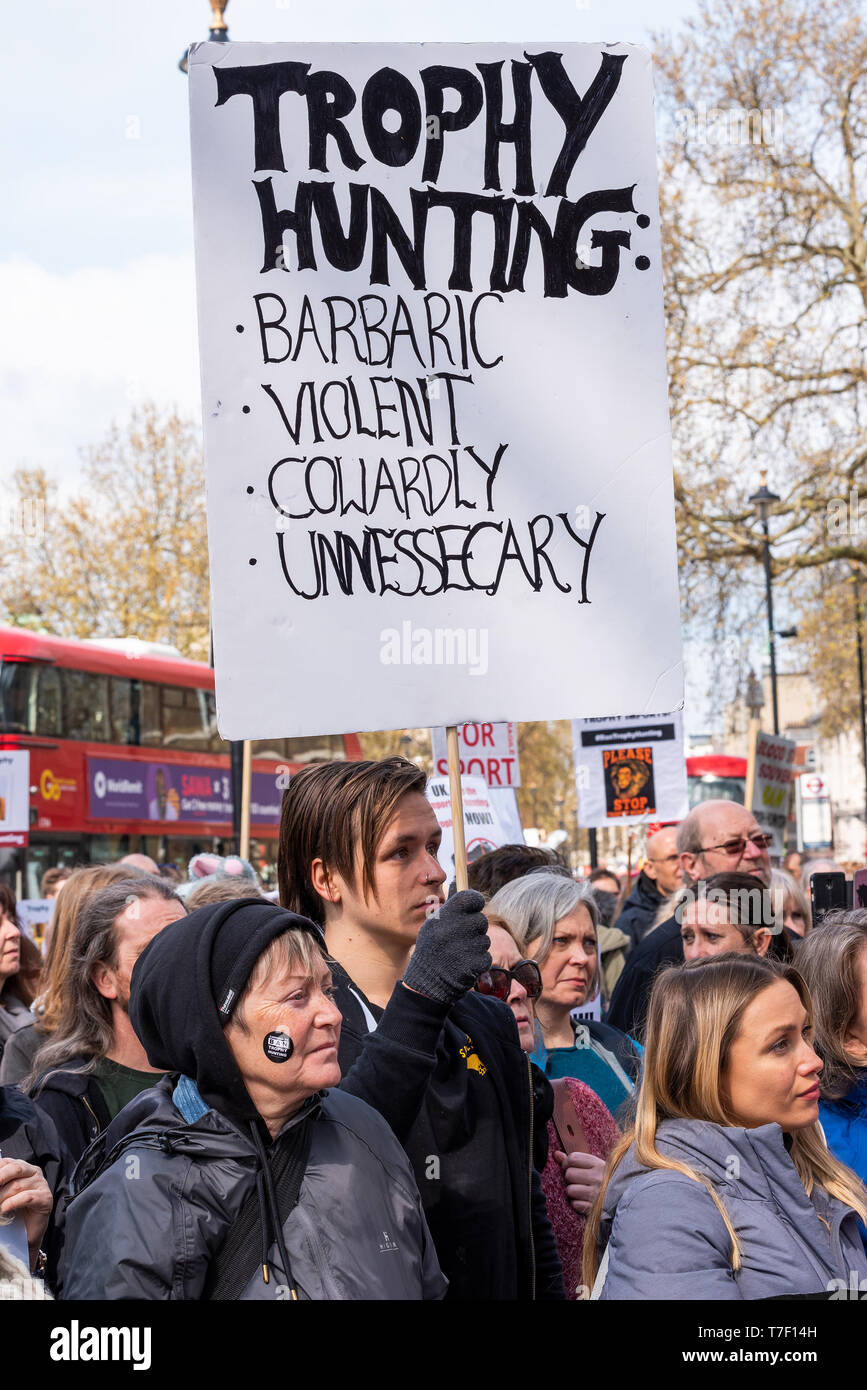 The London March Against Trophy Hunting and Extinction gathered at Cavendish Square and marched through Central London to Downing Street. Stock Photo