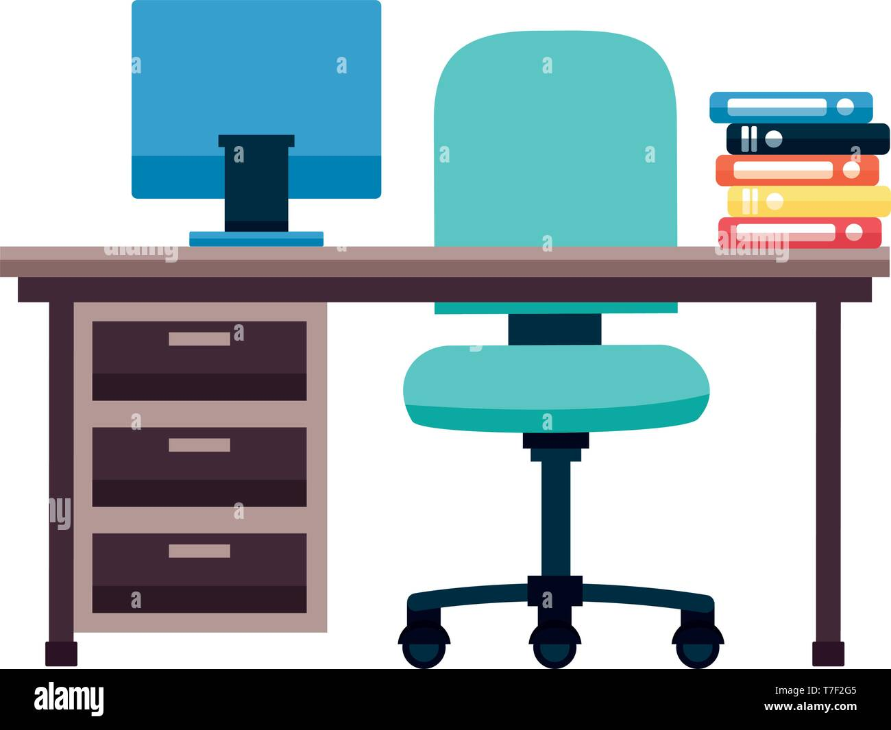 Phenomenal Office Desk Books Stock Vector Art Illustration Vector Interior Design Ideas Clesiryabchikinfo