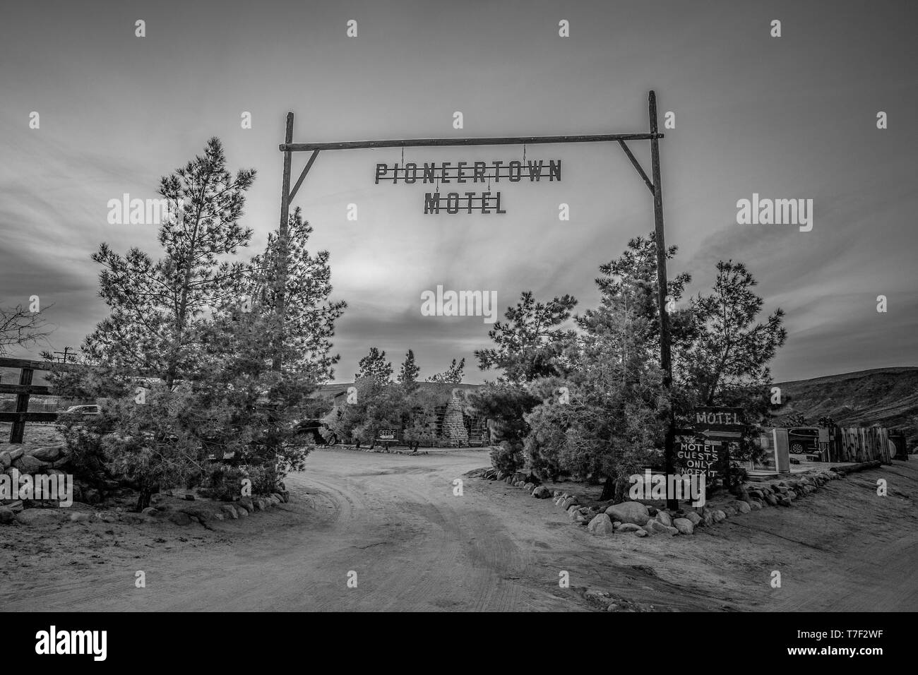 Pioneertown Motel in California in the evening - CALIFORNIA, USA - MARCH 18, 2019 Stock Photo