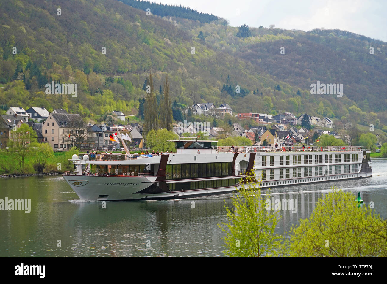 Excellent Princess river cruise ship on Mosel River in Germany - Stock Image
