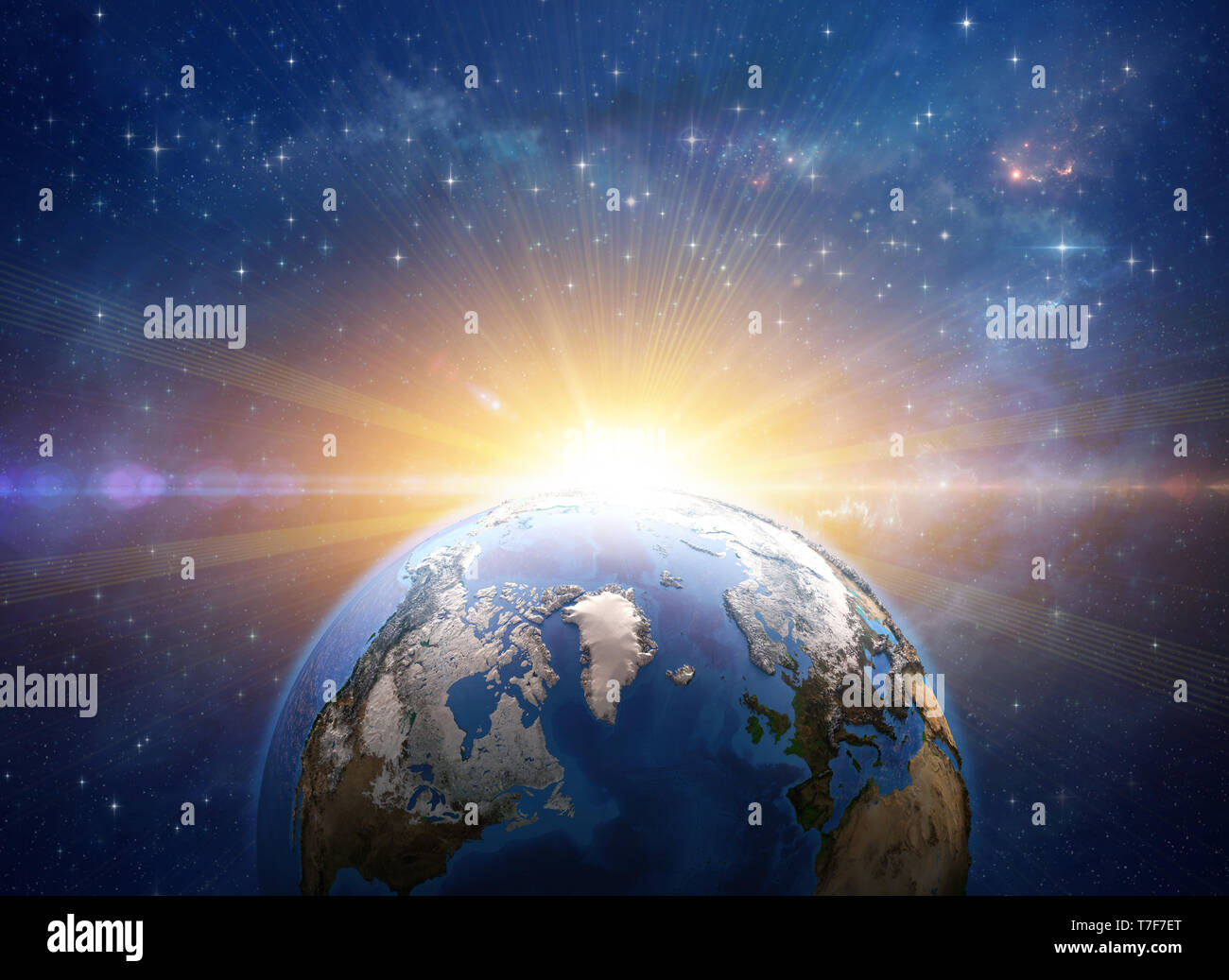 Sun rising over Greenland and Arctic from space. Giant meteor explosion on planet Earth. Global warming concept. 3D illustration - Elements of this im - Stock Image