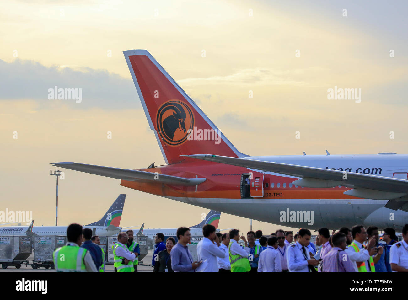 Vertical stabilizer of a Taag Angola Airlines Boeing 777-200 ER aircraft at Hazrat Shahjalal Hazrat Shahjalal International Airport in Dhaka, Banglade - Stock Image