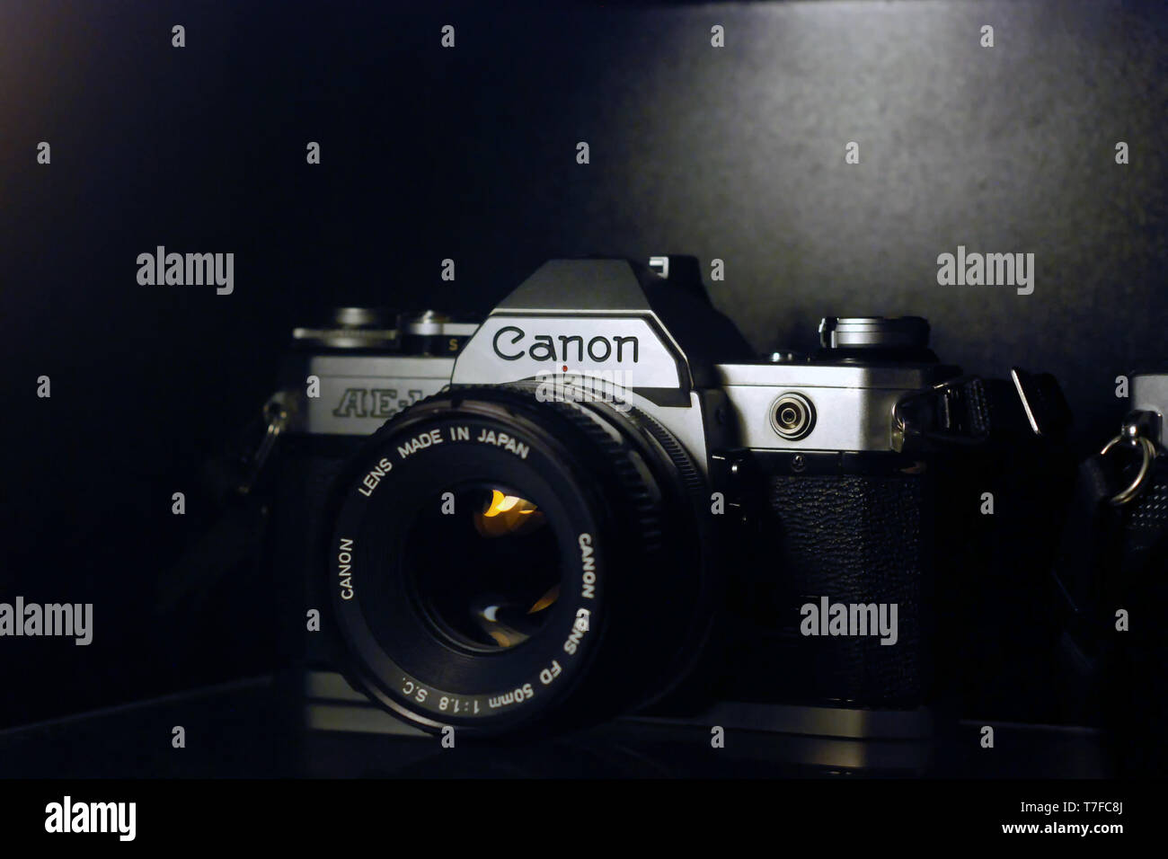 7 January 2013, Eskisehir, Turkey. Canon 35mm slr camera on black background - Stock Image