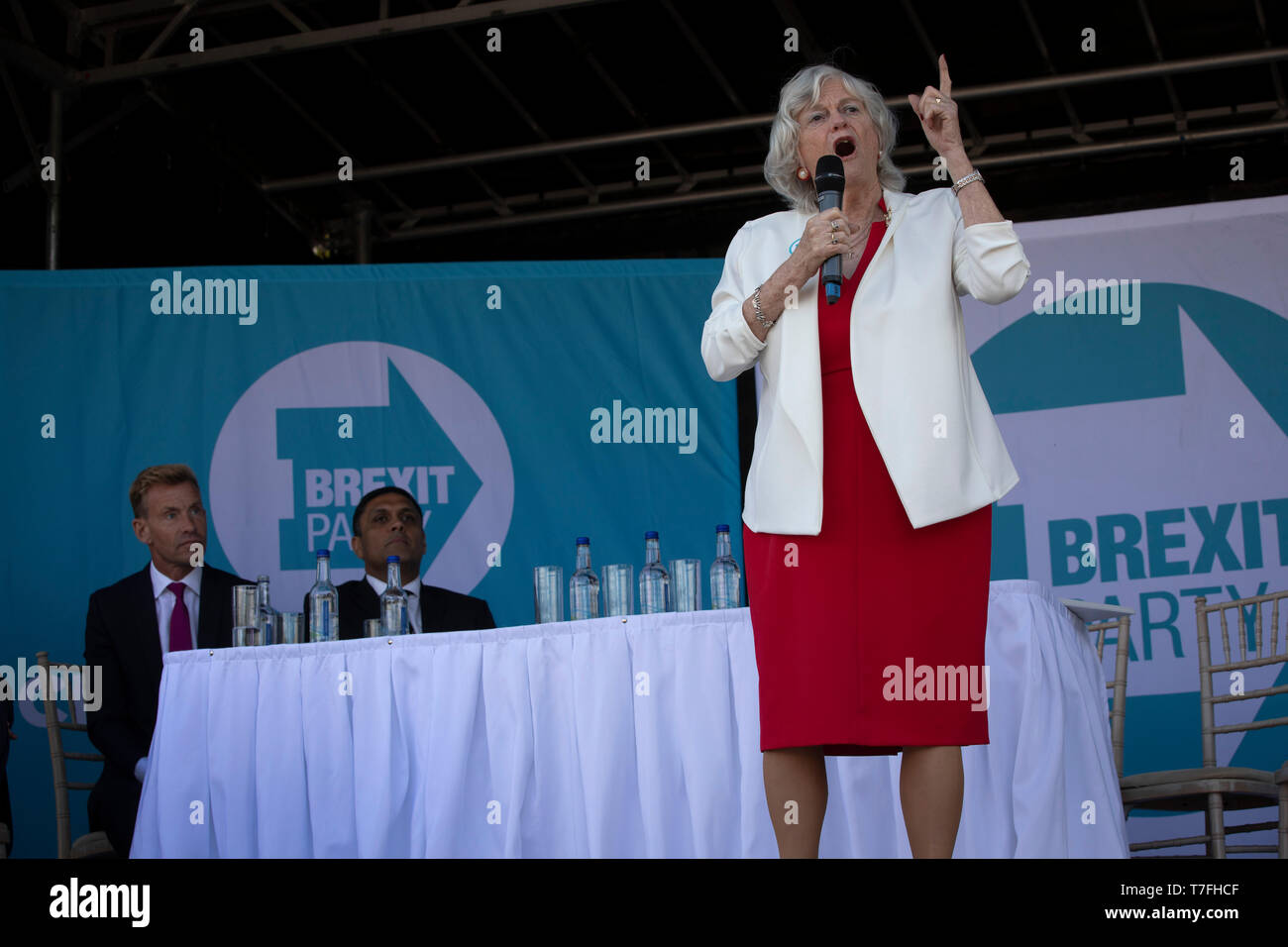 Former Conservative party government minister Ann Widdecombe speaking on stage at a Brexit Party event in Chester, Cheshire. The keynote speech was given by the Brexit Party leader Nigel Farage MEP. The event was attended by around 300 people and was one of the first since the formation of the Brexit Party by Nigel Farage in Spring 2019. Stock Photo
