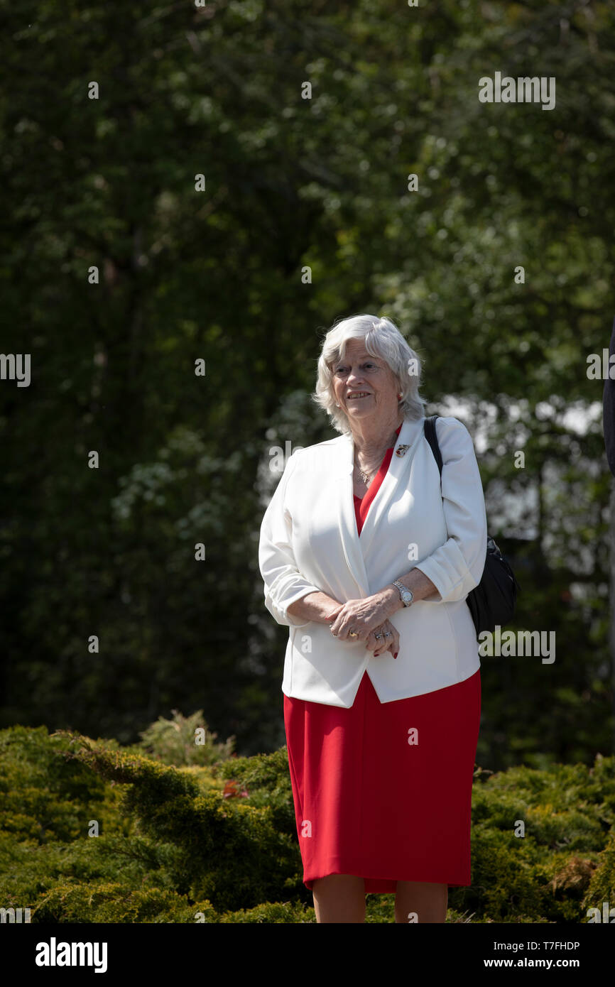 Former Conservative party government minister Ann Widdecombe waiting to speak on stage at a Brexit Party event in Chester, Cheshire. The keynote speech was given by the Brexit Party leader Nigel Farage MEP. The event was attended by around 300 people and was one of the first since the formation of the Brexit Party by Nigel Farage in Spring 2019. Stock Photo