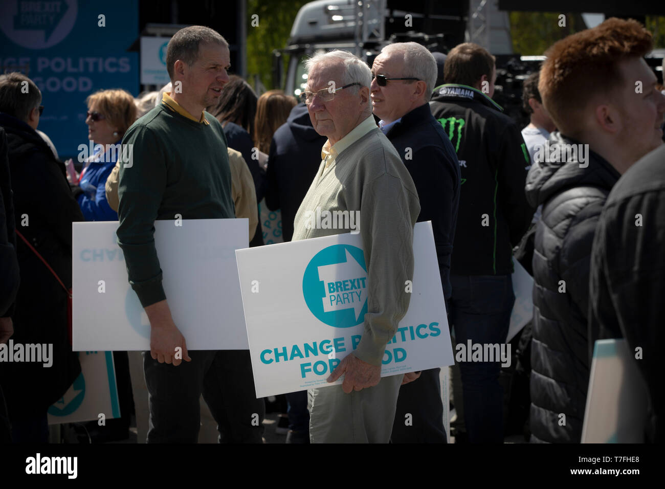 Supporters gathering at a Brexit Party event in Chester, Cheshire where the new party's leader Nigel Farage gave the main address. Mr Farage was joined on the platform by his party colleague Ann Widdecombe, the former Conservative government minister. And other prominent party members. The event was attended by around 300 people and was one of the first since the formation of the Brexit Party by Nigel Farage in Spring 2019. - Stock Image
