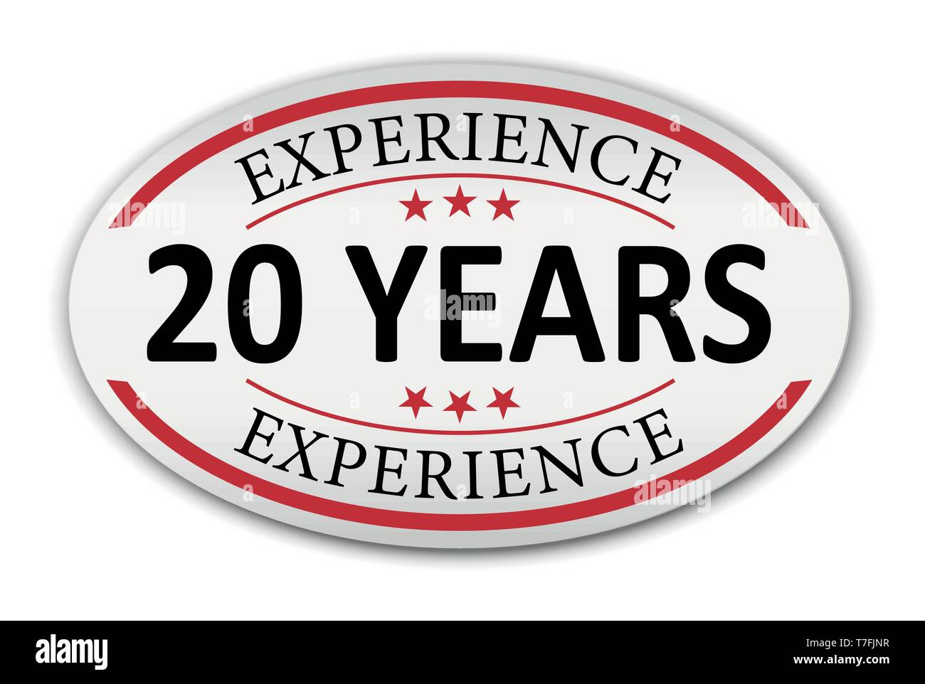 red vector illustration banner label experience 20 years - Stock Vector