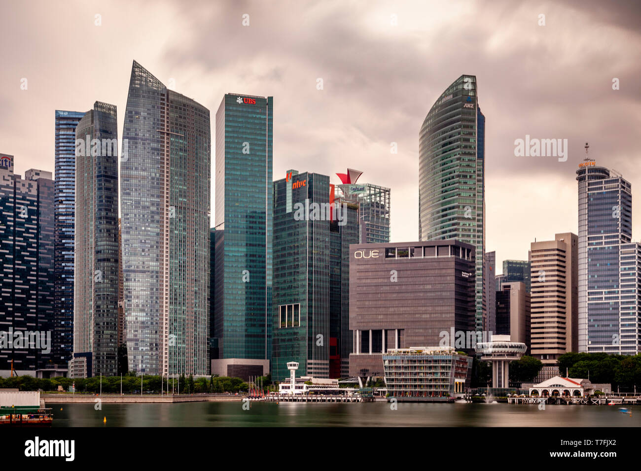 The Singapore Skyline From Marina Bay, Singapore, South East Asia - Stock Image