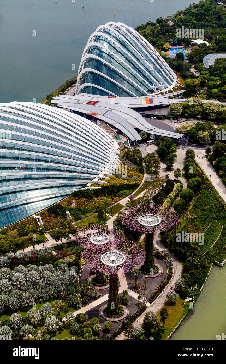 The Flower Dome, Cloud Forest and Silver Garden At The Gardens By The Bay, Singapore, South East Asia - Stock Image