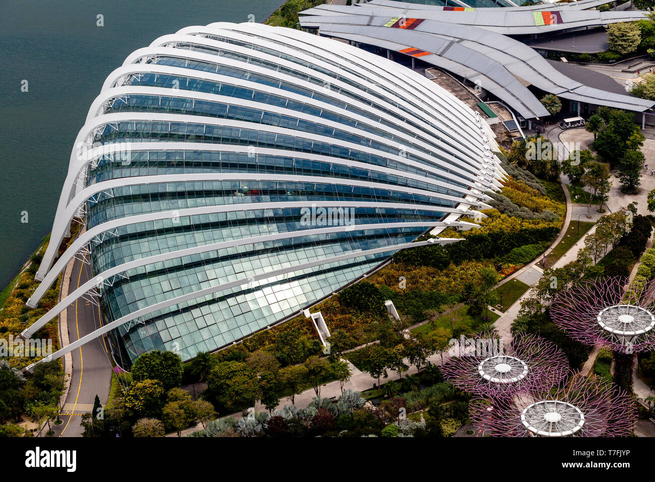 The Flower Dome and Silver Garden At The Gardens By The Bay Nature Park, Singapore, South East Asia - Stock Image