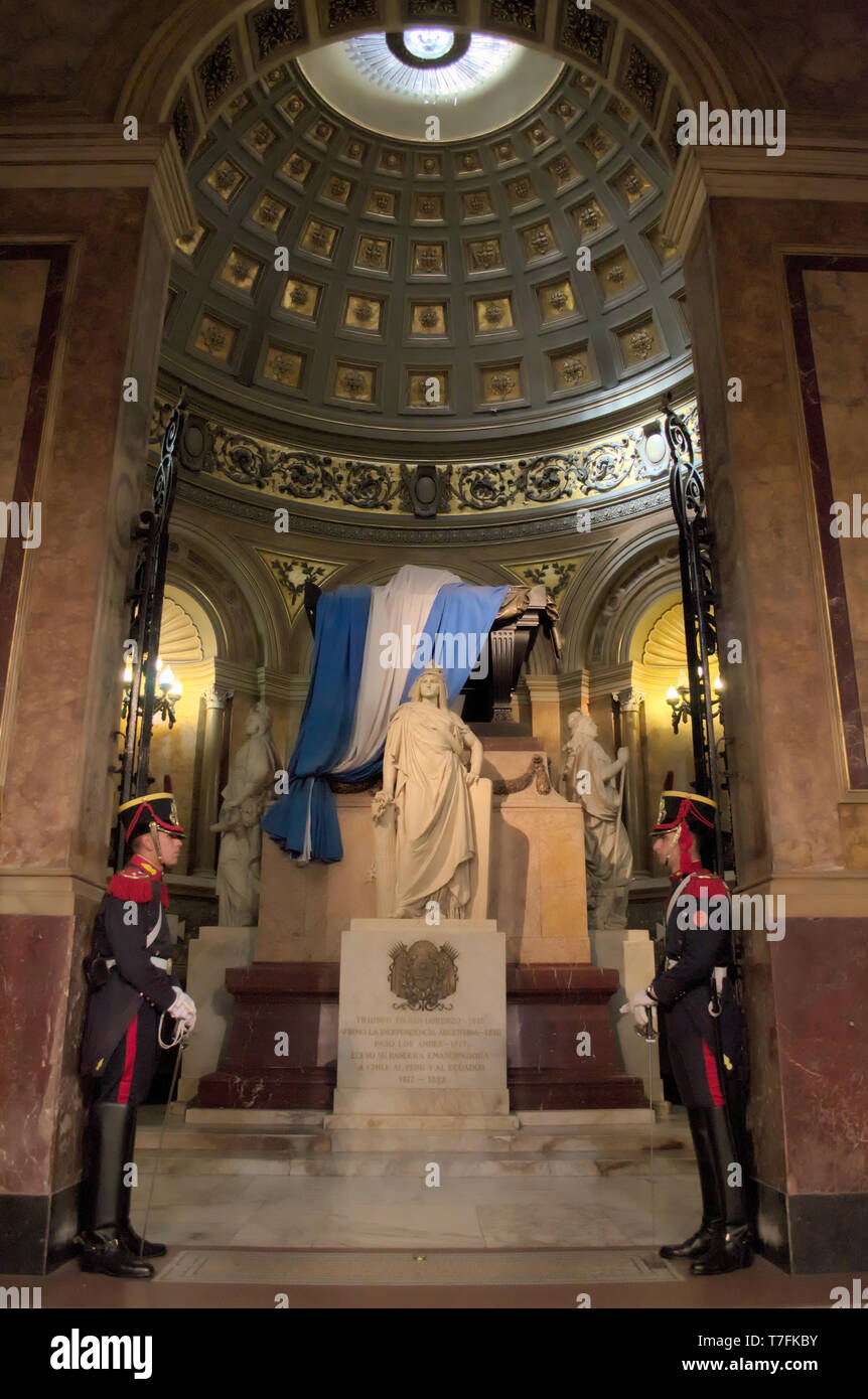 The resting place of General José de San Martin, greatest national hero of Argentina, Chile, and Peru, in the Cathedral of Buenos Aires, Argentina. - Stock Image