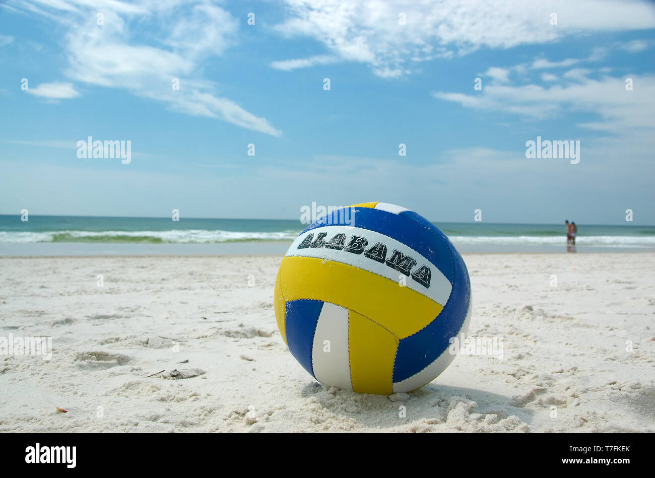 A volleyball on the beach at Gulf State Park, Gulf Shores, Alabama, USA. Stock Photo