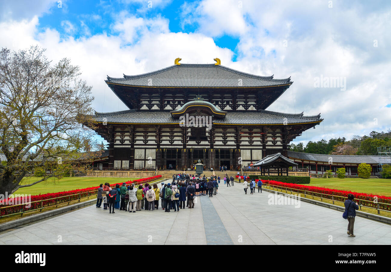 Nara, Japan - Apr 10, 2019. People visit the Todaiji Temple in Nara, Japan. Todai-ji is Nara most popular tourist attraction and a UNESCO Heritage Sit - Stock Image