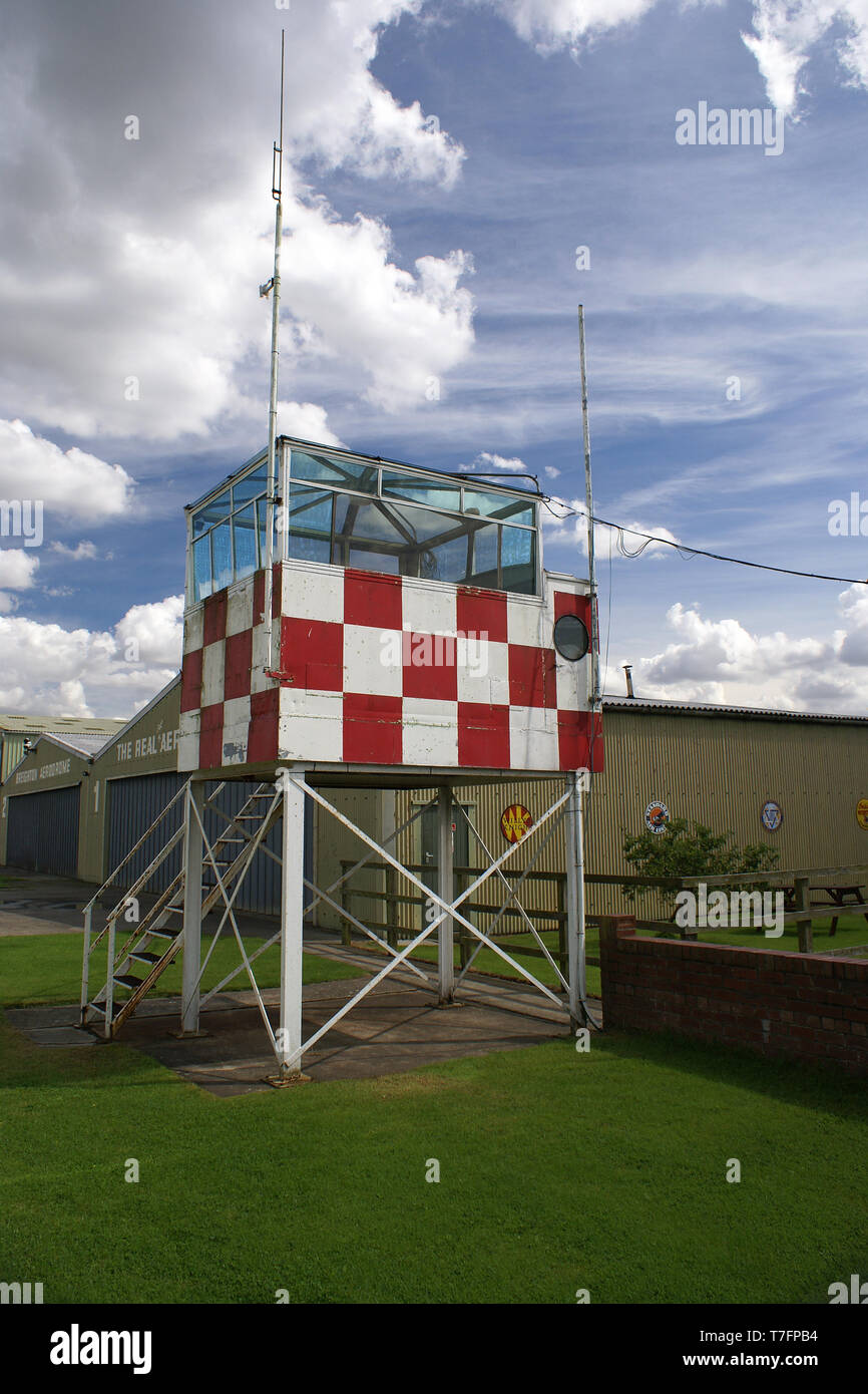 watch office, Breighton Aerodrome control tower - Stock Image