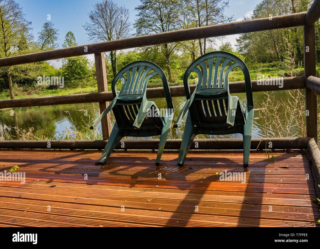 Two green plastic chairs leant against the wooden balustrade of the wooden pontoon overlooking a trout fishing lake in rural Norfolk on a warm bank ho - Stock Image