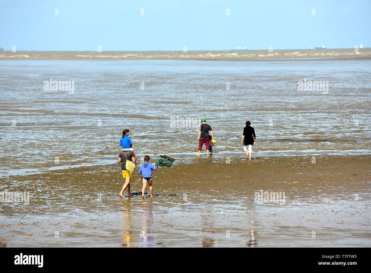 Chatelaillon-Plage (central-western France): people fishing from the shore at low tide - Stock Image