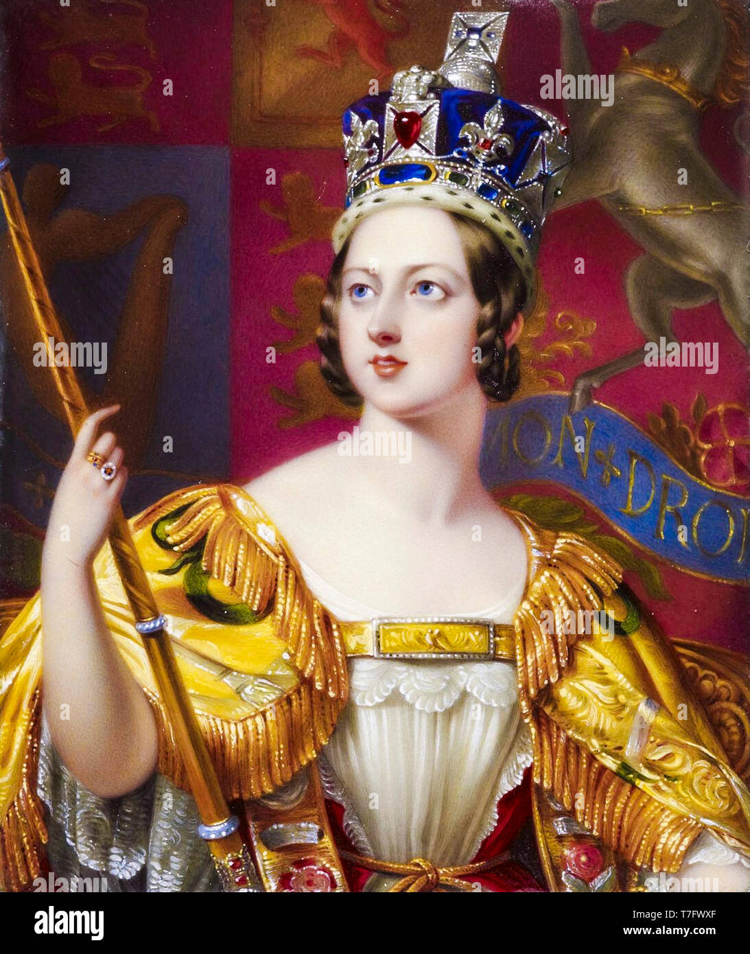 Queen Victoria in her coronation robes with the Imperial State Crown, portrait, 1843 - Stock Image