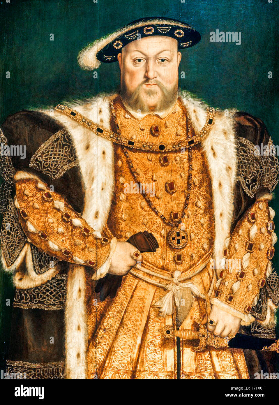 Portrait of Henry VIII (1491-1547), painting after Hans Holbein, c. 1538 Stock Photo