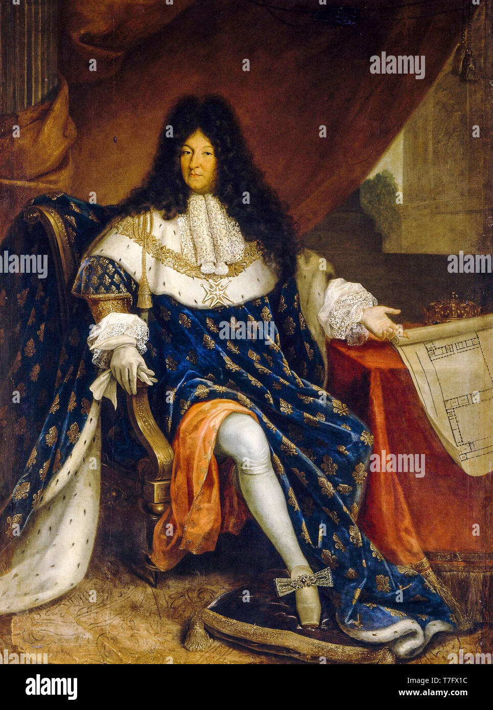 Portrait of Louis XIV of France (1638-1715) holding the plan of the royal house of Saint-Cyr, dressed in coronation robes, Nicolas-René Jollain, 18th Century - Stock Image