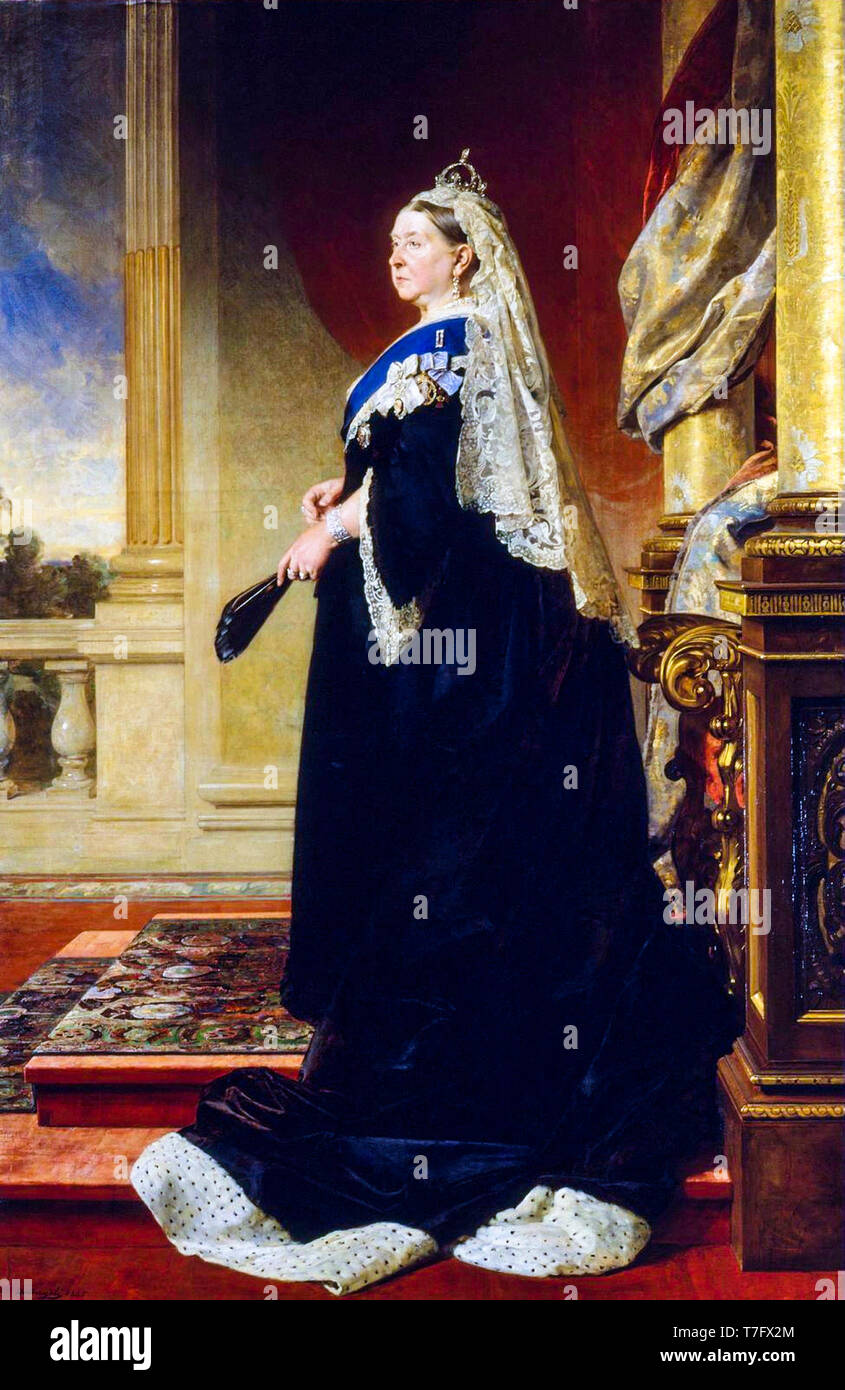 Portrait of Queen Victoria as a widow, painting by Heinrich von Angeli, 1885 - Stock Image