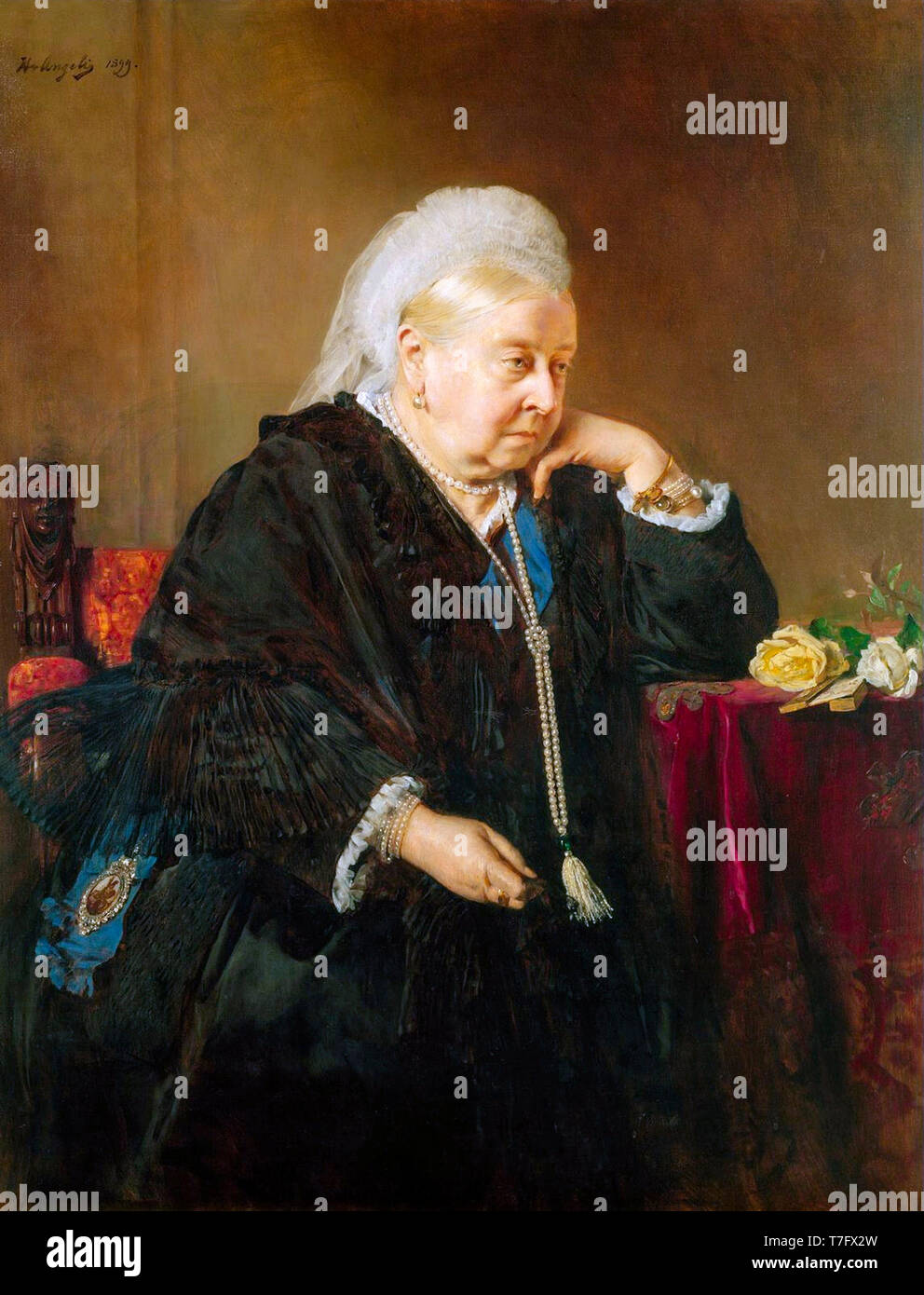 Portrait of Queen Victoria as widow, painting by Heinrich von Angeli, 1899 - Stock Image