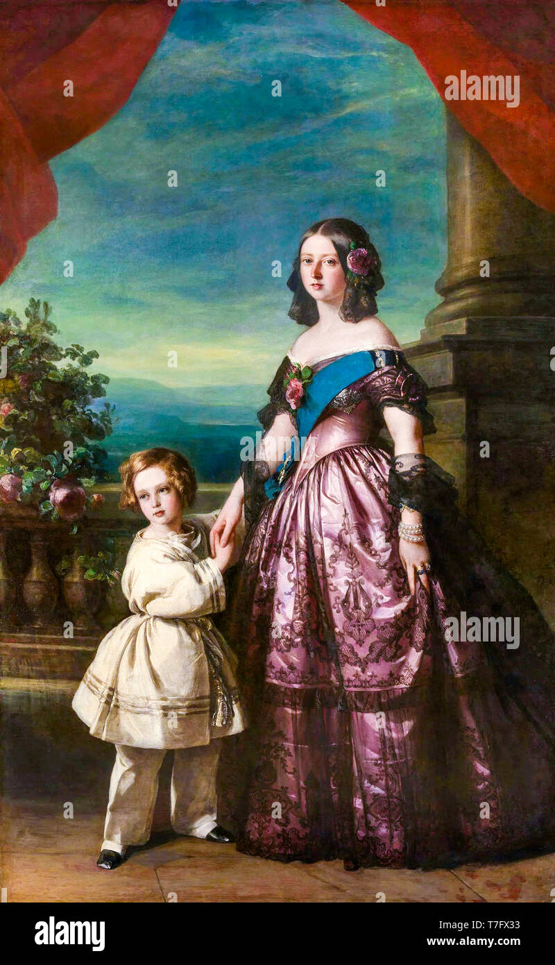 Queen Victoria and Albert Edward, Prince of Wales, dual portrait painting by Franz Xaver Winterhalter, 1846 - Stock Image