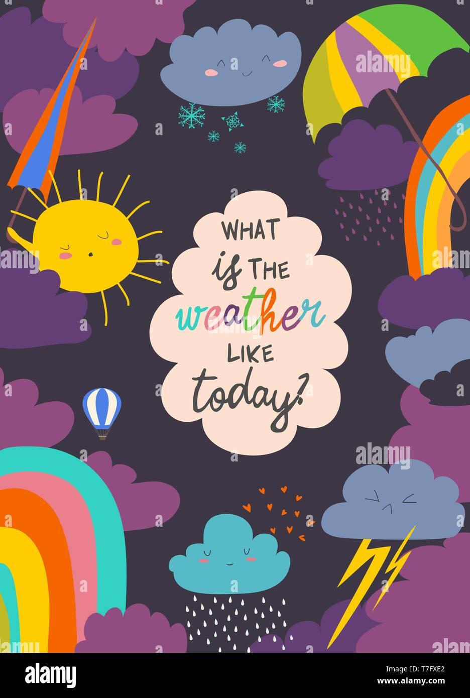Cartoon frame with weather. Sun, cloud, rain, rainbow,snow - Stock Vector