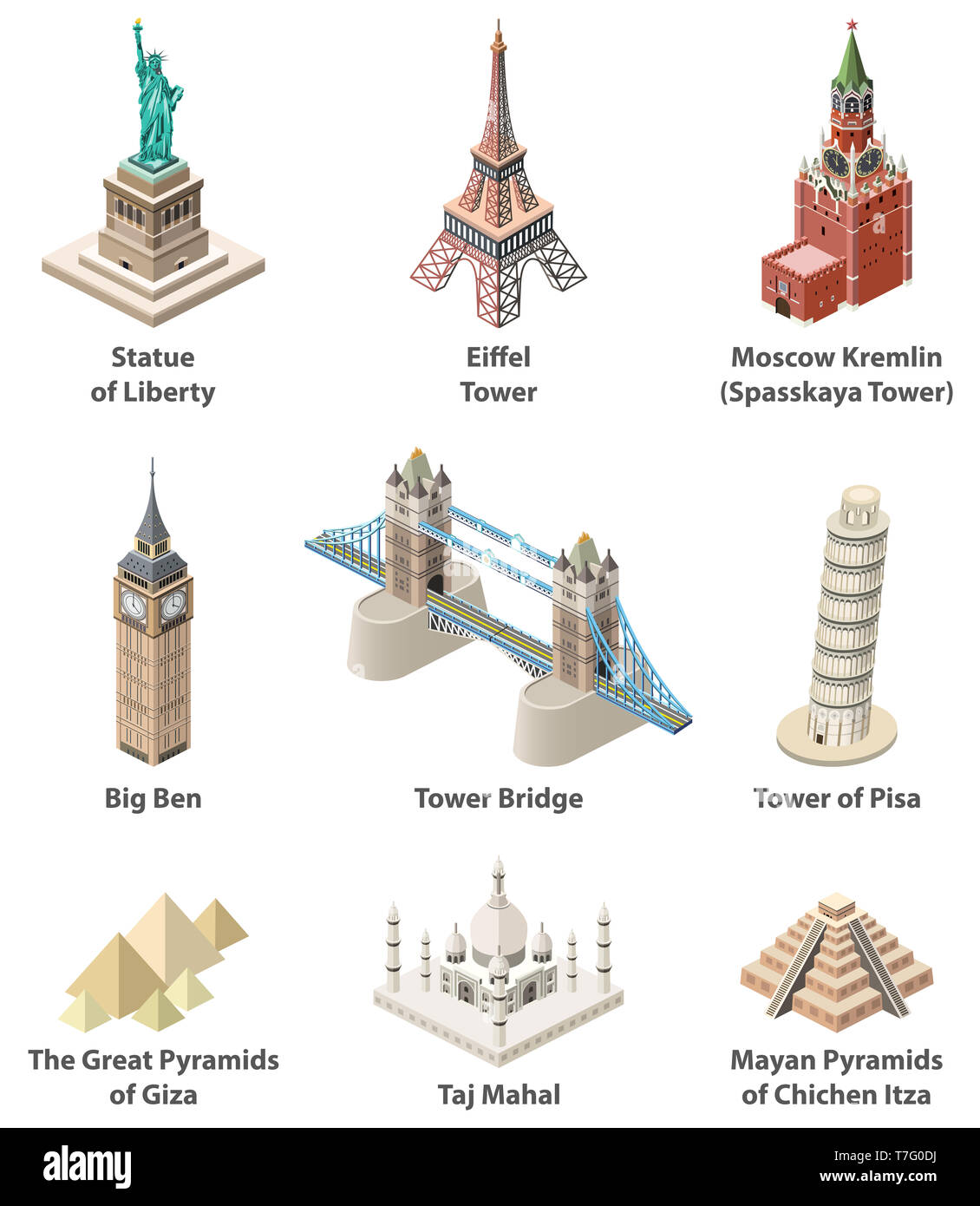 Famous world landmarks vector isometric high detailed isolated icons - Stock Image
