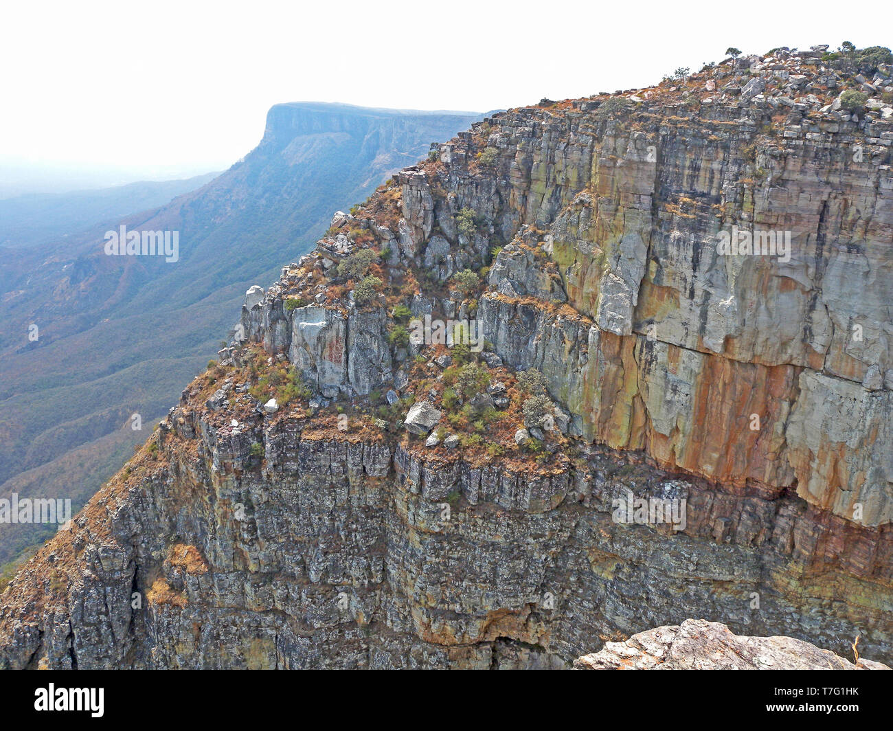 View from the Tundavala Gap on the Tundavala Escarpment near the city of Lubango, in Huíla province, Angola. - Stock Image