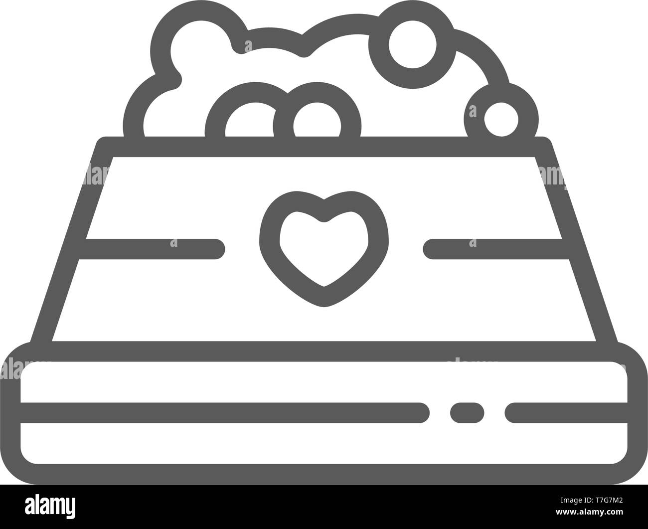 Bowl with pet food line icon. - Stock Vector