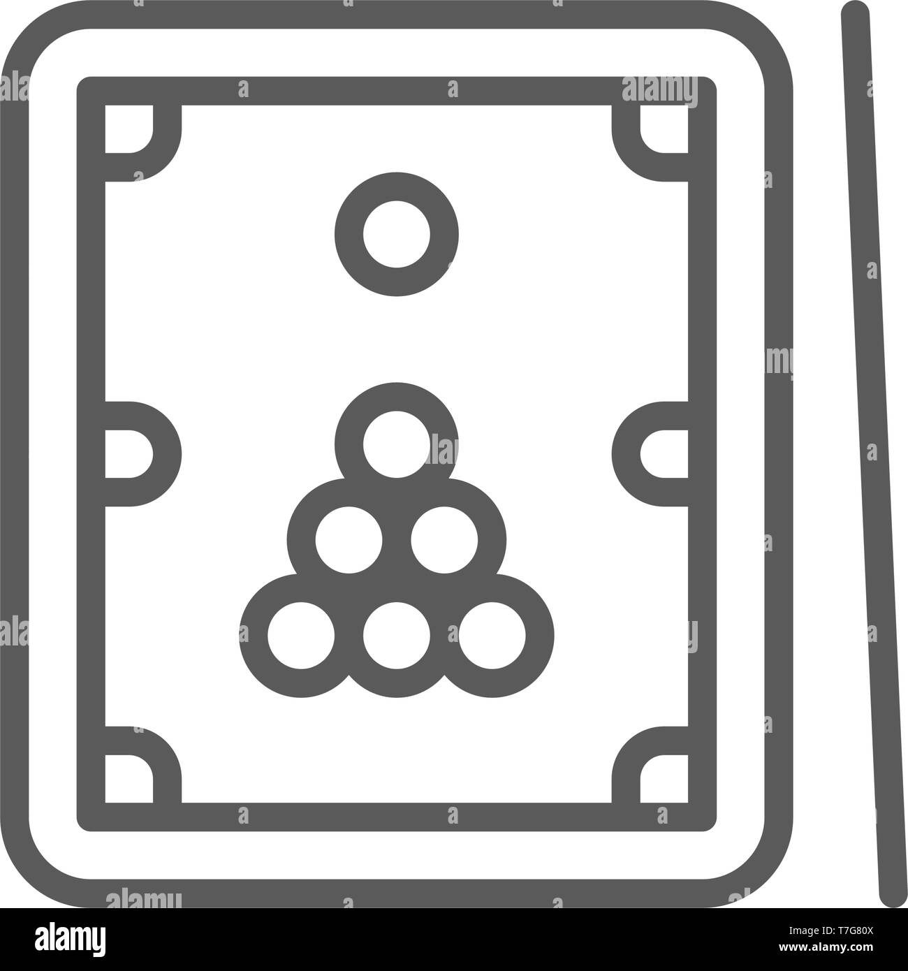 Billiards, table with cue and balls line icon. - Stock Vector