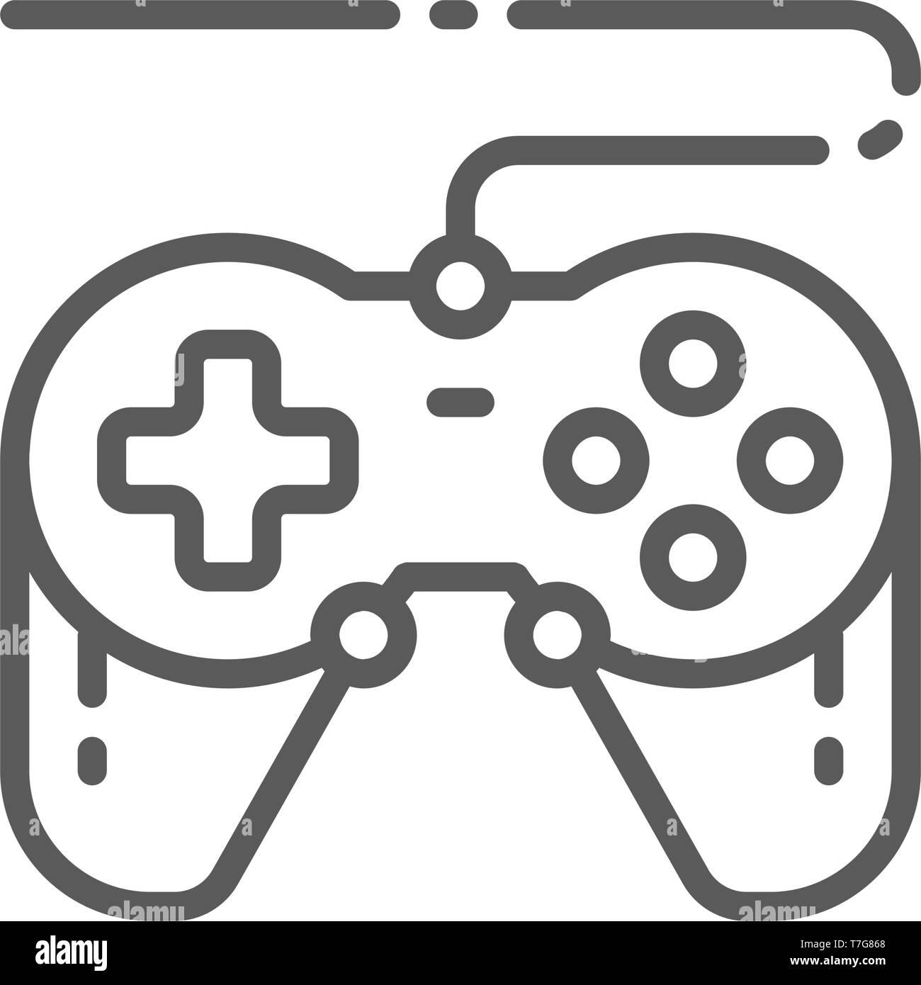 Joystick, gamepad, gaming device line icon. - Stock Image