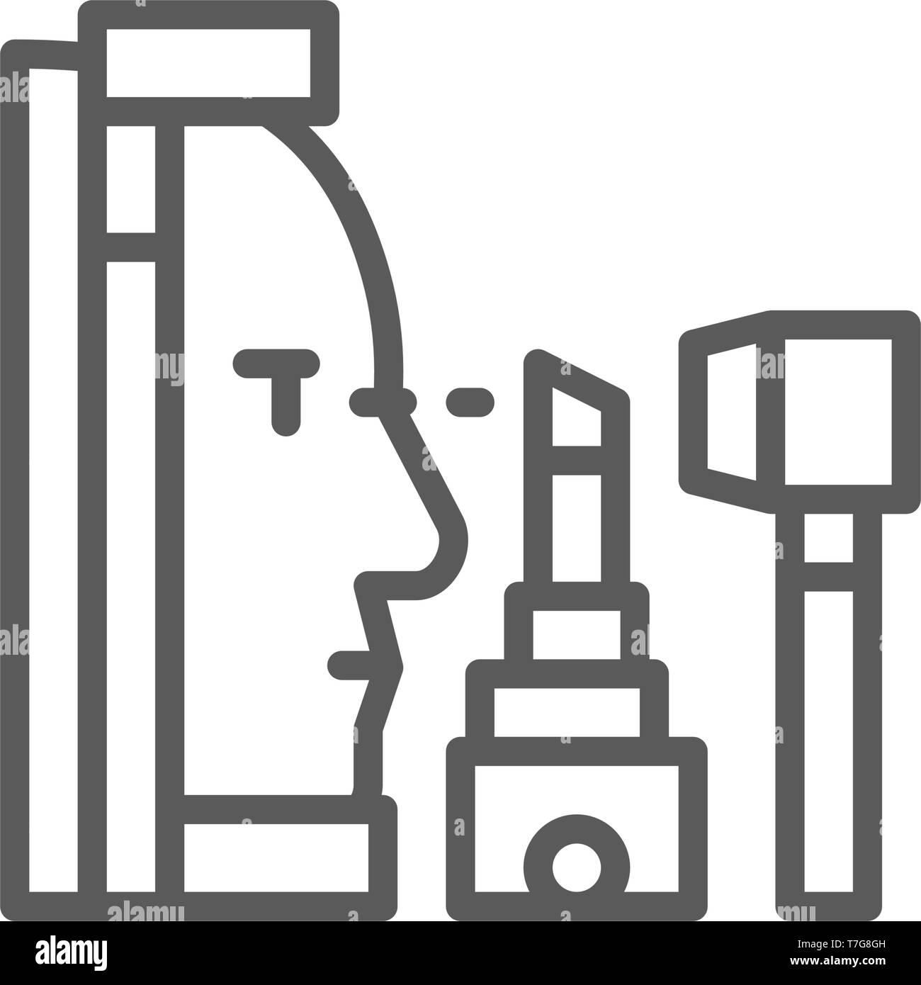 Vision testing, laser correction line icon. - Stock Image