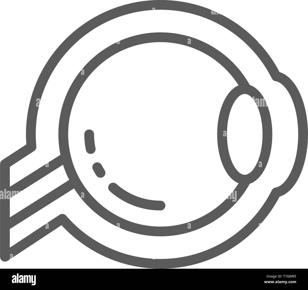 Eyeball, optic nerve line icon. - Stock Image
