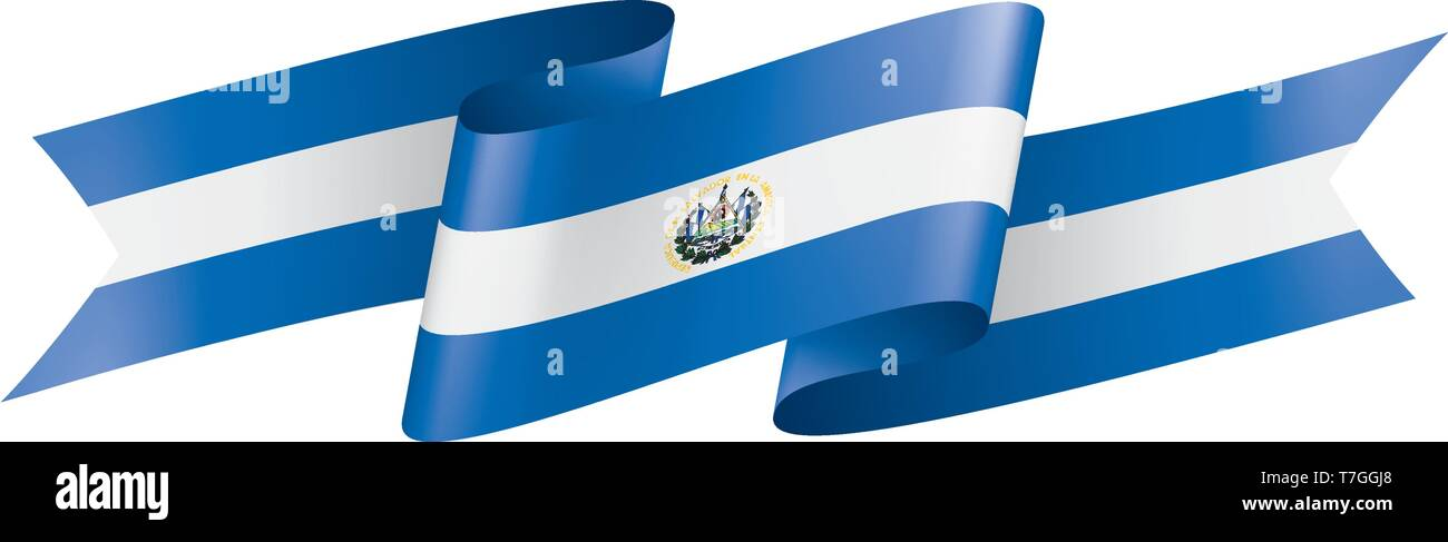 Salvador flag, vector illustration on a white background - Stock Image