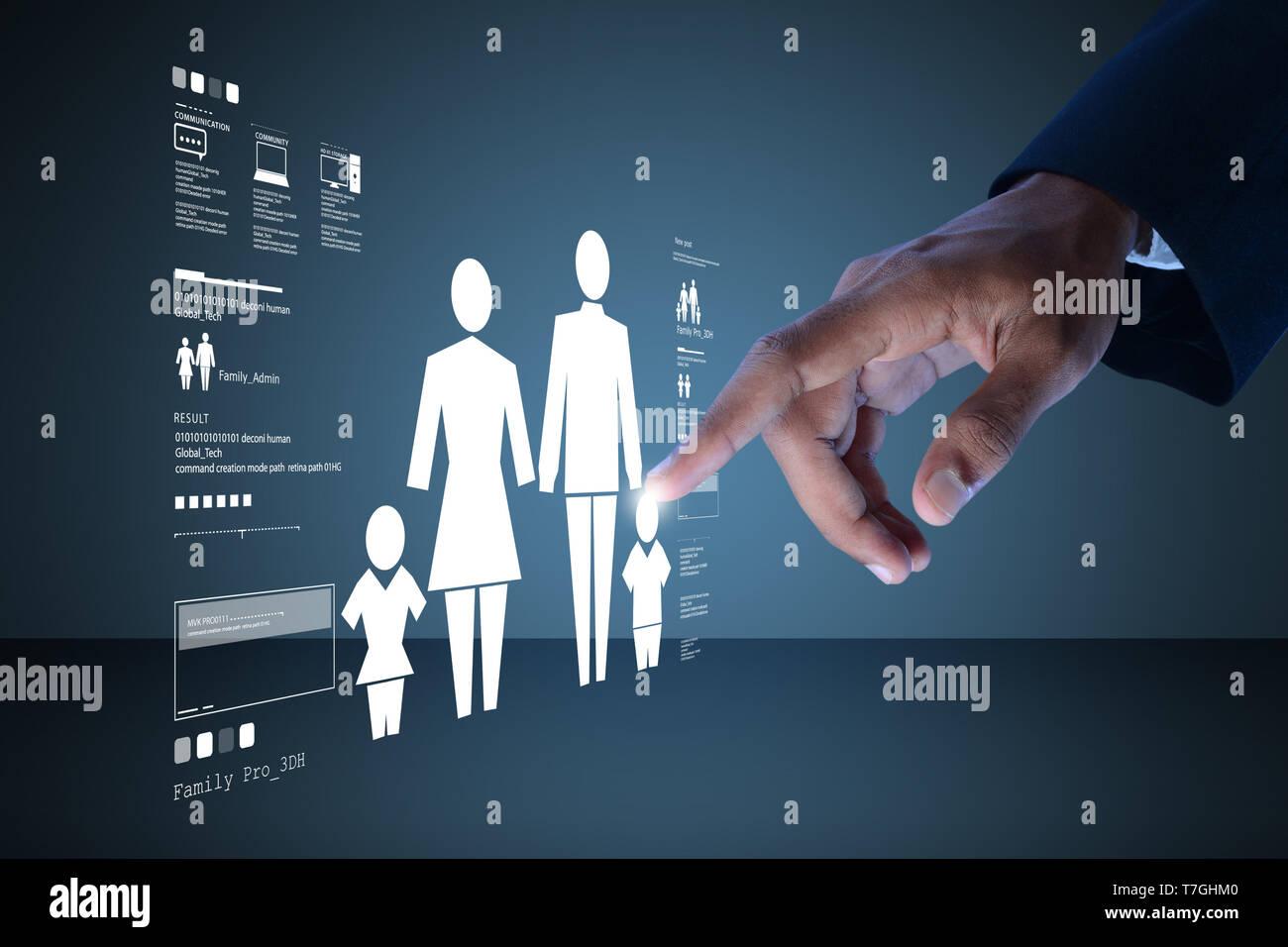 Man shows family icon - Stock Image
