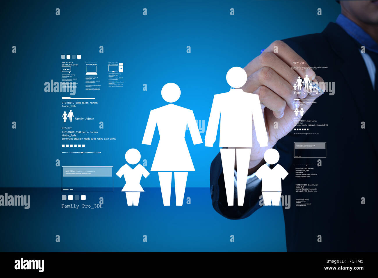 Man drawing  family icon - Stock Image