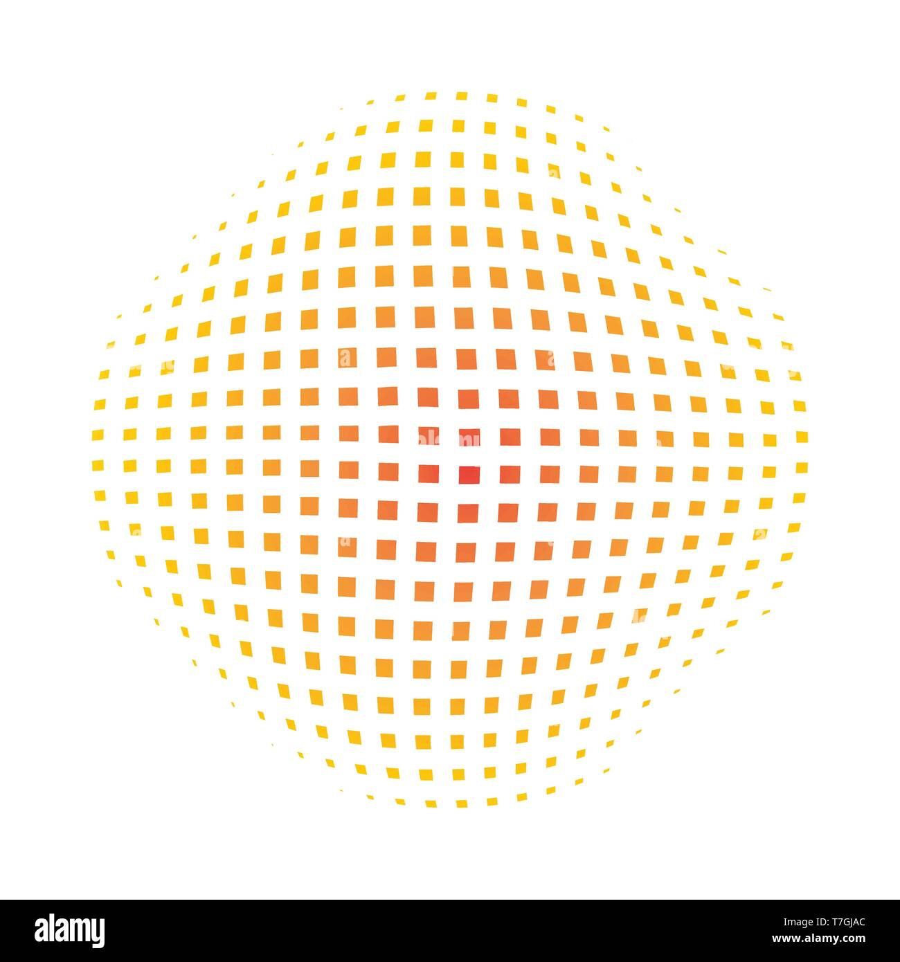 Yellow abstract circle with halftone dots effect  Vector