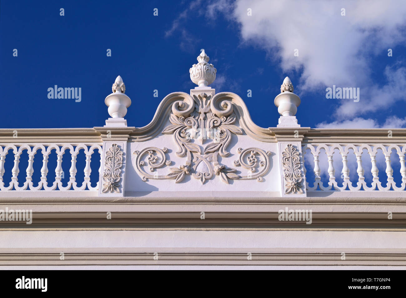 Detail of ornamented house facade - Stock Image