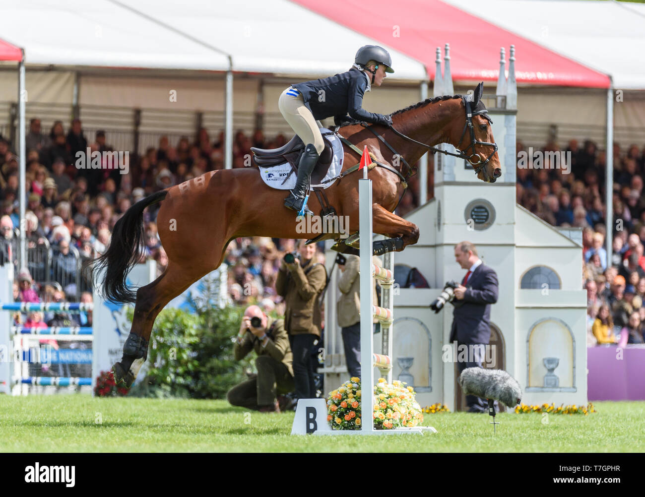 Imogen Murray and IVAR GOODEN during the showjumping phase, Mitsubishi Motors Badminton Horse Trials, Gloucestershire, 2019 - Stock Image
