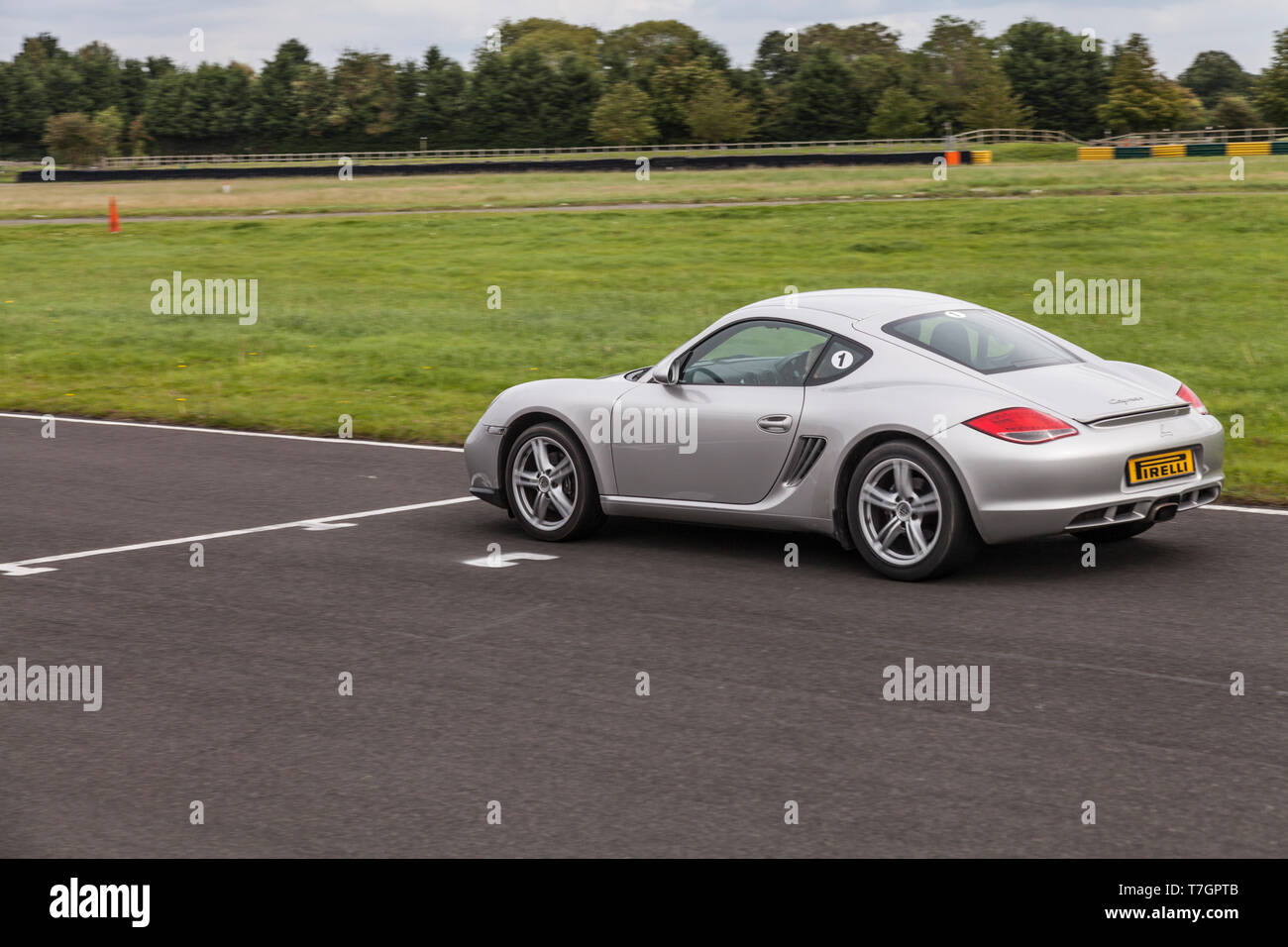 A Porsche Cayman sports car at Croft Motor Racing Circuit,North Yorkshire,England,UK Stock Photo