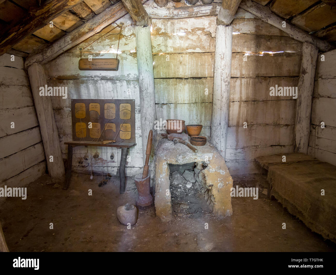 Reconstruction of the interior of the ancient dwelling, archaeological park 'From nomadic to cities', Divnogorye, Voronezh region - Stock Image
