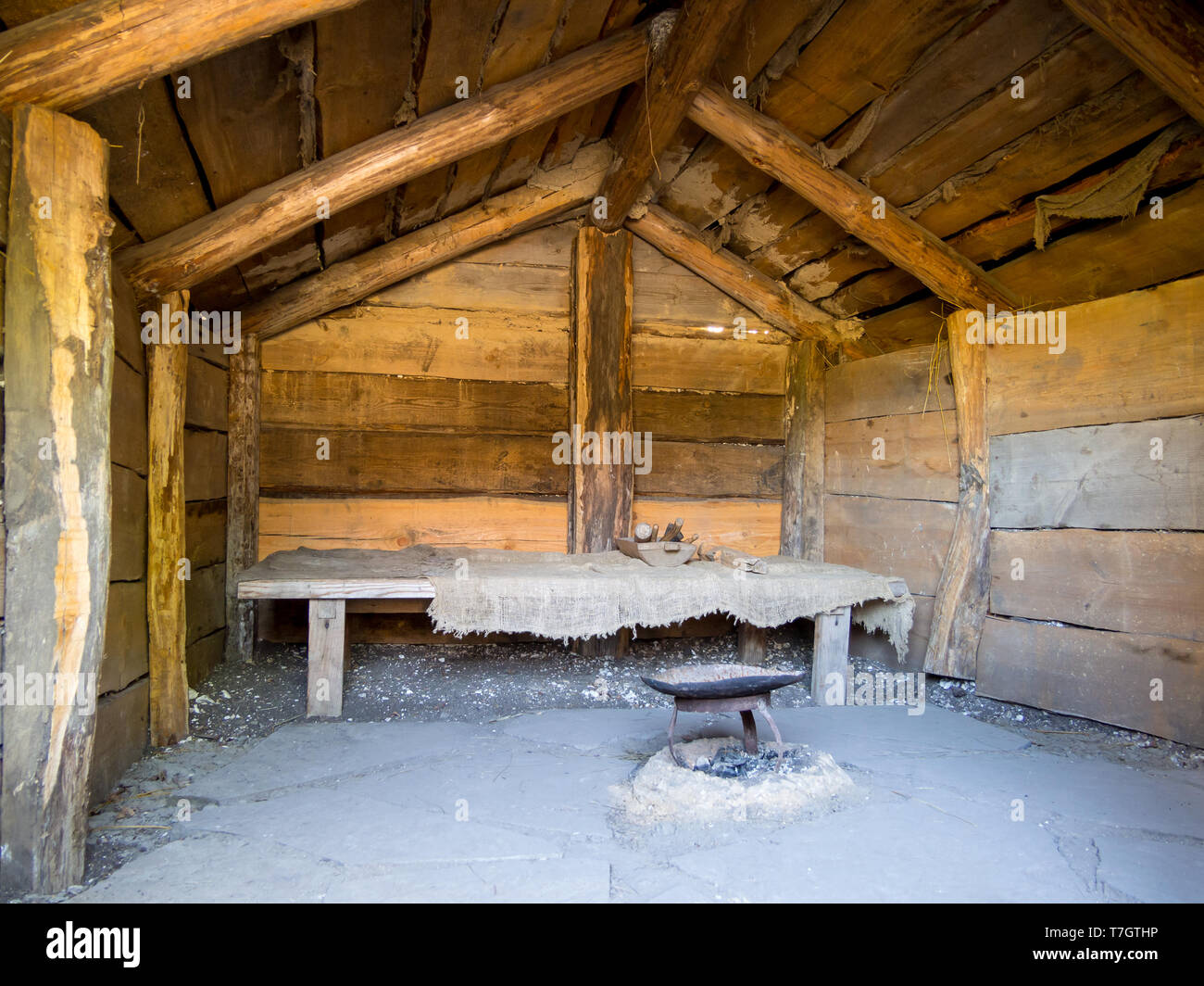 Interior of an old hut with a gable roof, archaeological park 'From nomads to cities', Divnogorye, Voronezh Region - Stock Image