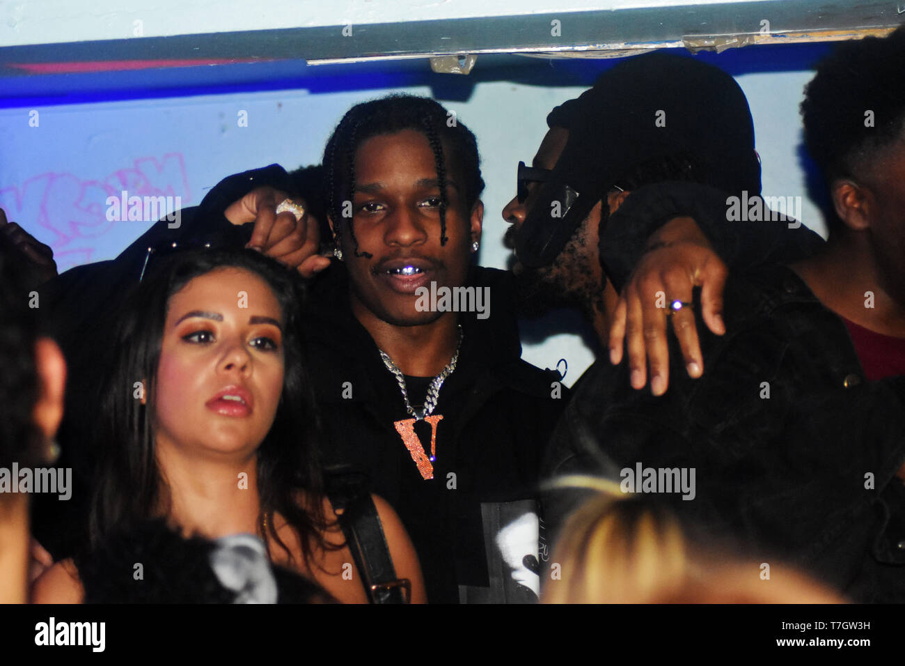 Multi talented American Rapper Director Actor and Fashion Model ASAP Rocky seen at a London Venue ahead of his performance at London's Finsbury Park for the infamous Wireless festival on the 5th of July. The top American recording artist is known for songs such as Praise the Lord from his last album titled Testing that featured UK artist Skepta and other top club bangers such as 'F**kin' Problems' ft. Drake, 2Chains and Kendrick Lamar back in 2013 and 'Every Day' Ft Rod Stewart, Mark Ronson and Migel is also known for his huge impact on the fashion world he even Collaborated with Selfridges - Stock Image