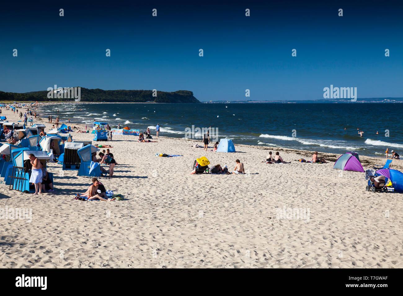 Strand mit Strandkörben, Ostseebad Göhren, Rügen, Mecklenburg- Vorpommern, Deutschland, Europa - Stock Image