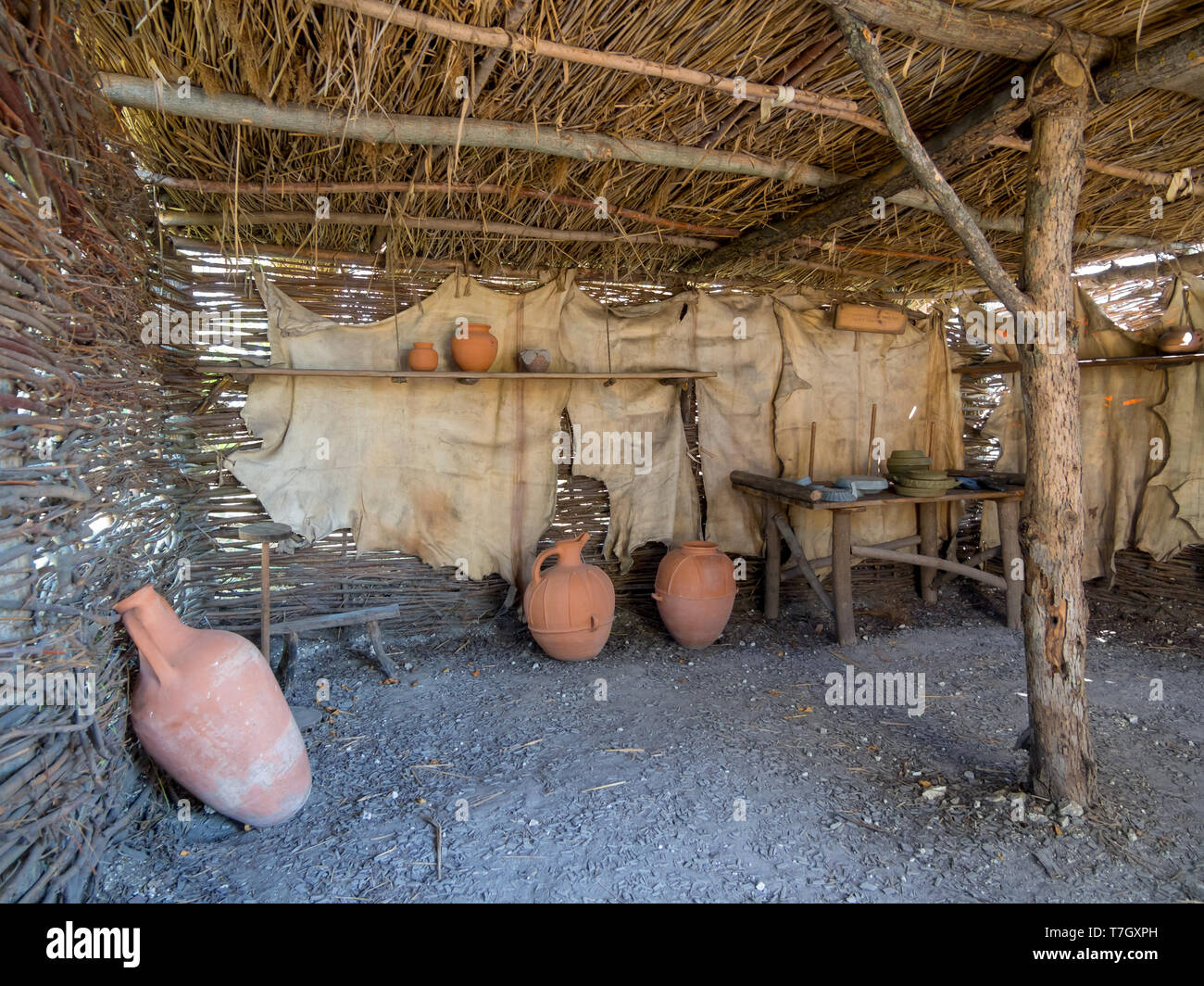 The premises of the ancient dwelling, view inside, the archaeological park 'From nomadic to the cities', Divnogorye, Voronezh region - Stock Image
